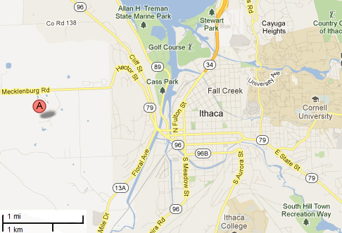 map of ithaca showing snbb location